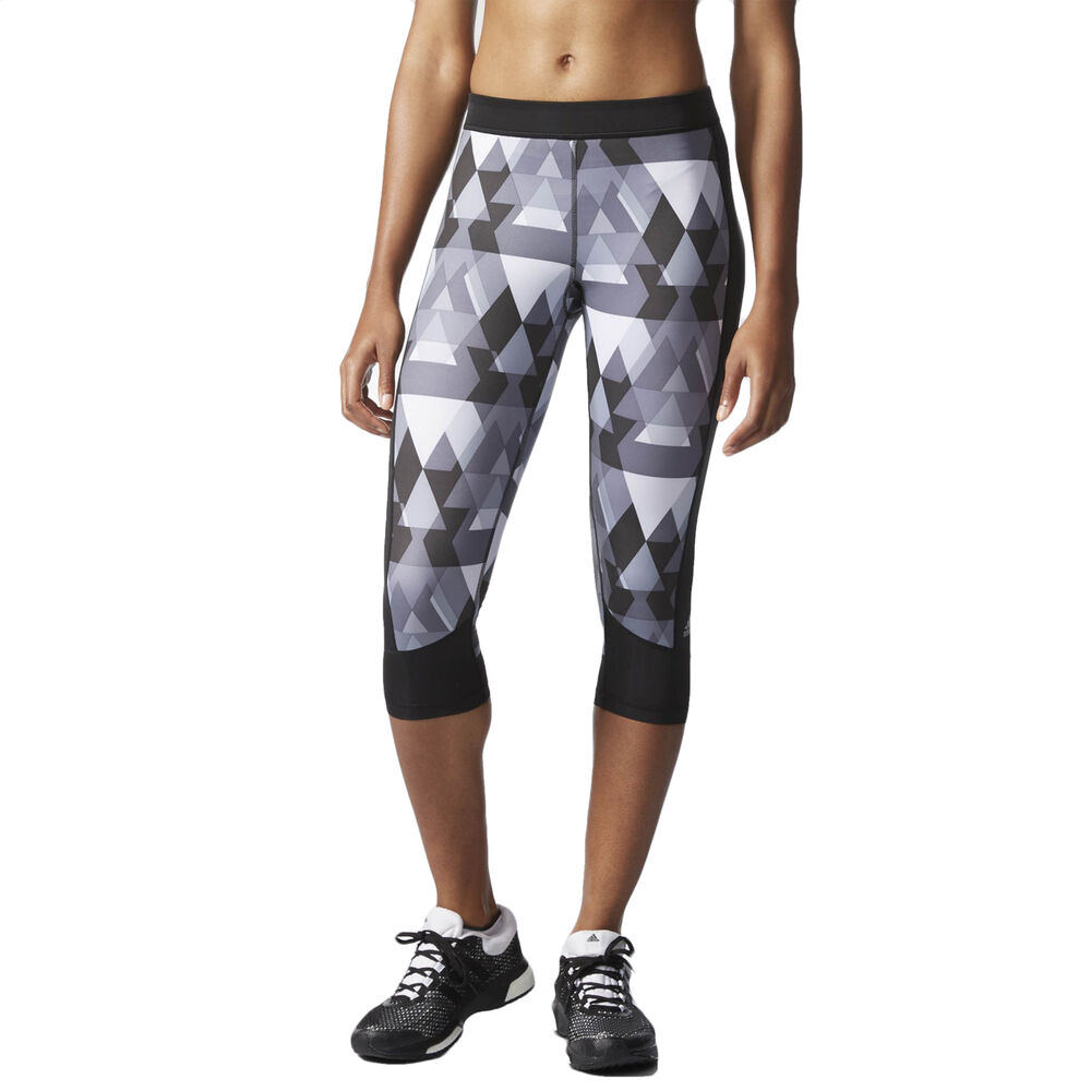 adidas performance womens techfit printed capri running tights 3 4 pants grey ebay. Black Bedroom Furniture Sets. Home Design Ideas