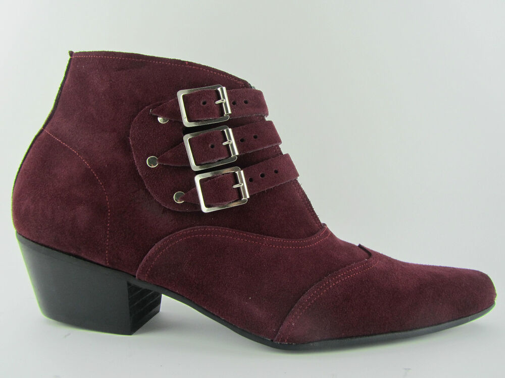 retro mens 3 burgundy suede chelsea beat boots