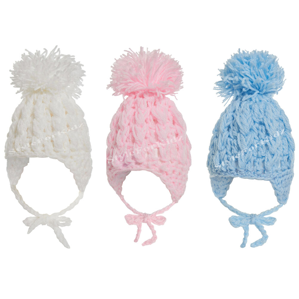 Baby Boy Girl White Blue Pink Knitted Crochet Pompom Hats Bobble Tie