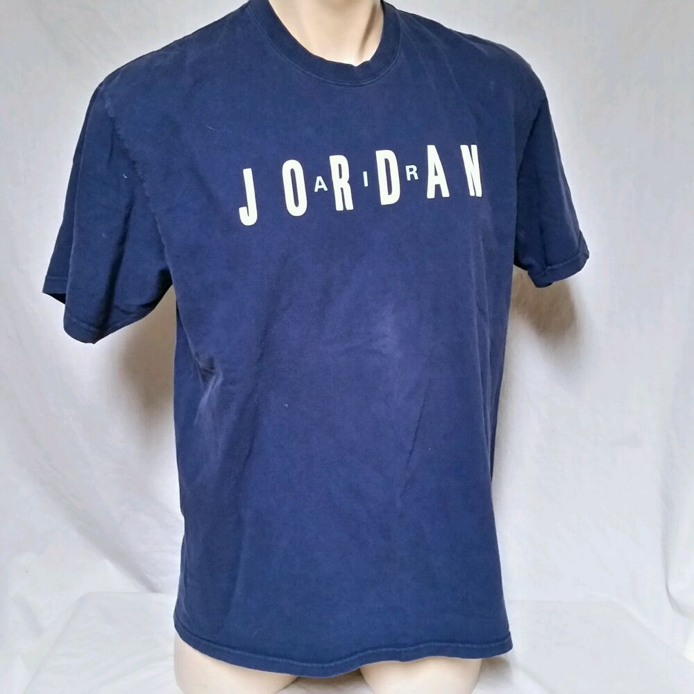 27fd1471c5e8ac Details about VTG Nike Air Jordan Grey Tag T Shirt Spell Out 90 s Flight Space  Jam Mens Large