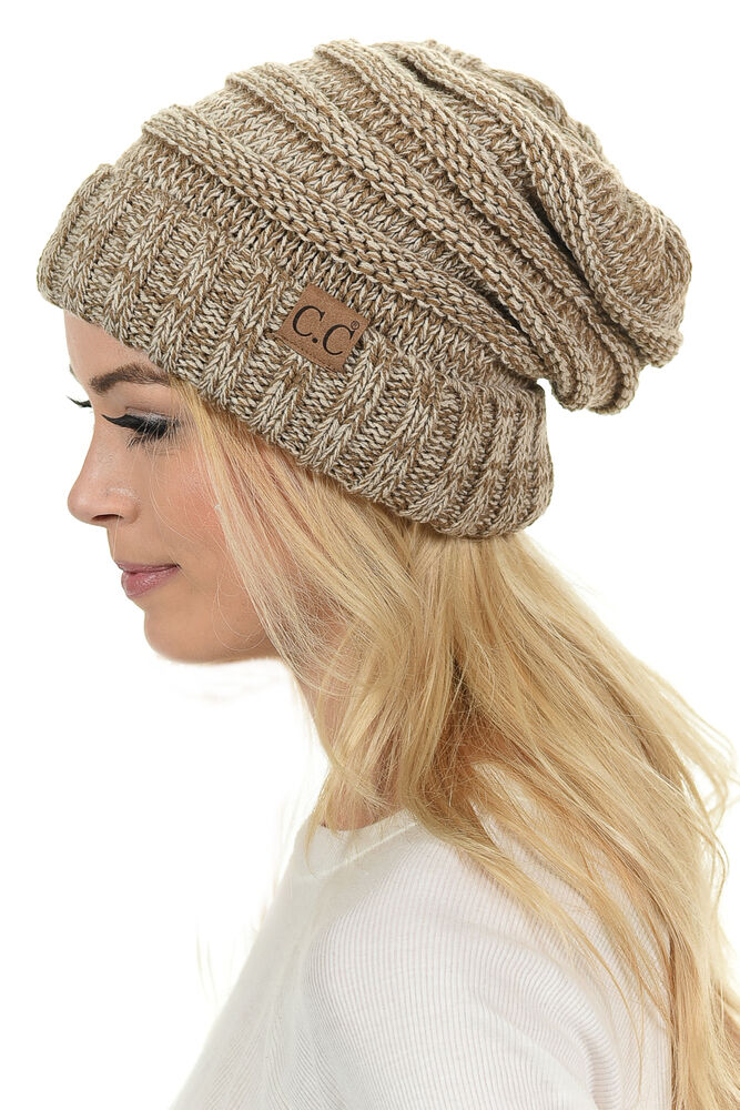 Womens Cc Oversized Baggy Thick Warm Cap Hat Skully Cable