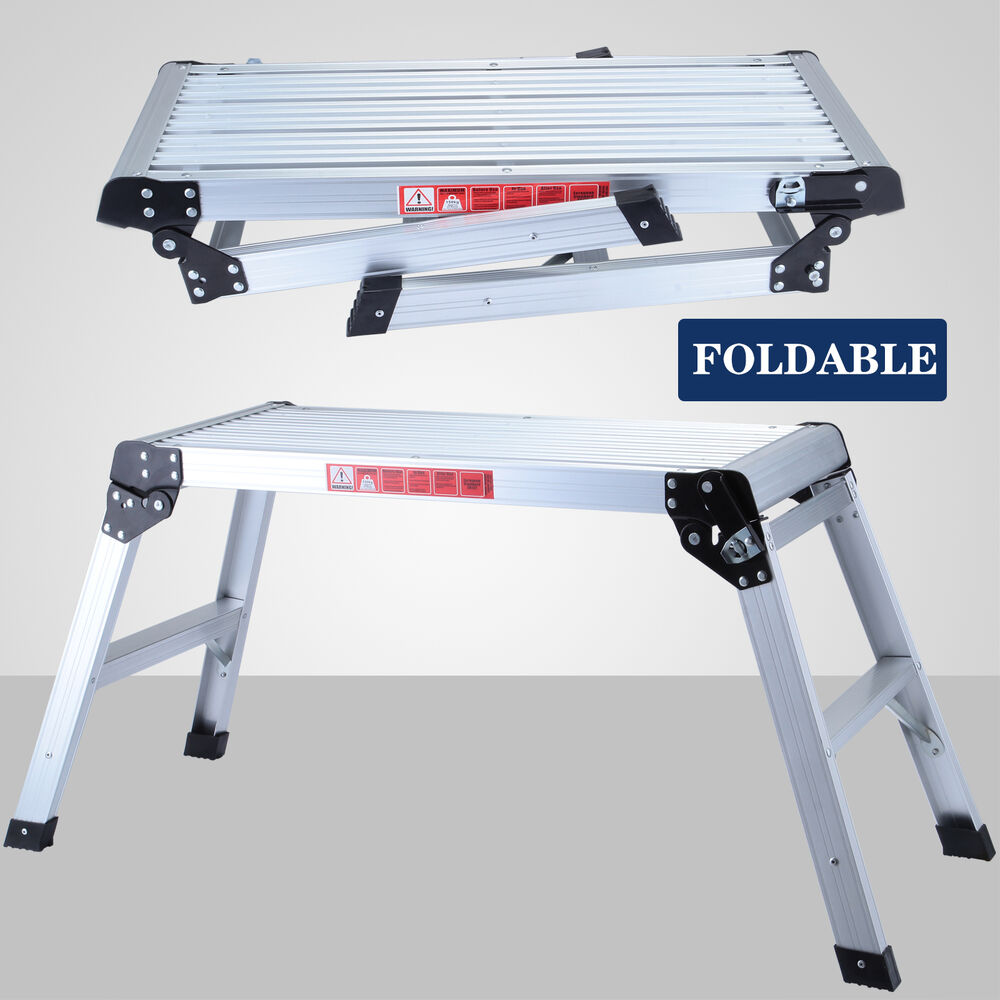 Folding Aluminum Bench Stool Ladder Drywall Step Up