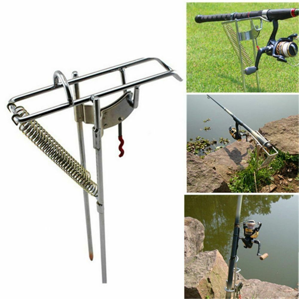 Stainless steel double spring fishing rod holder rack w for Fishing hook storage