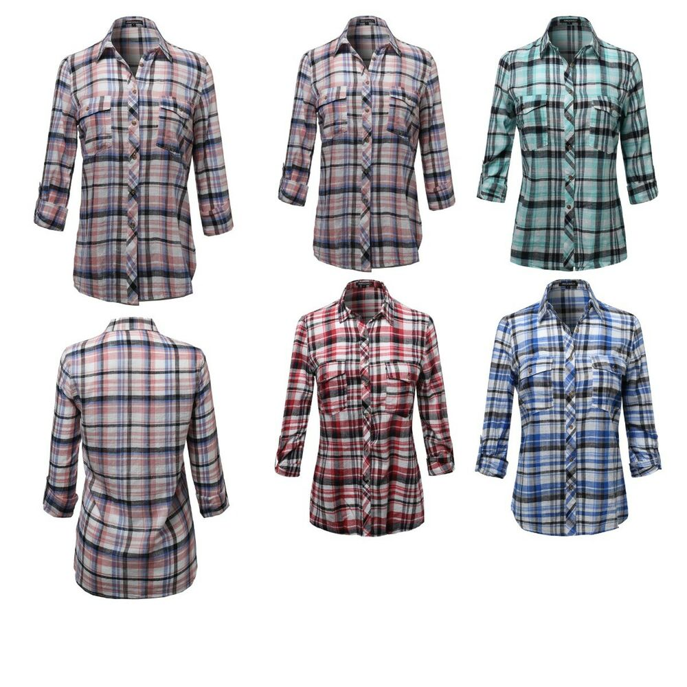 Fashionoutfit women 39 s long sleeve lightweight plaid button for Women s button down shirts extra long