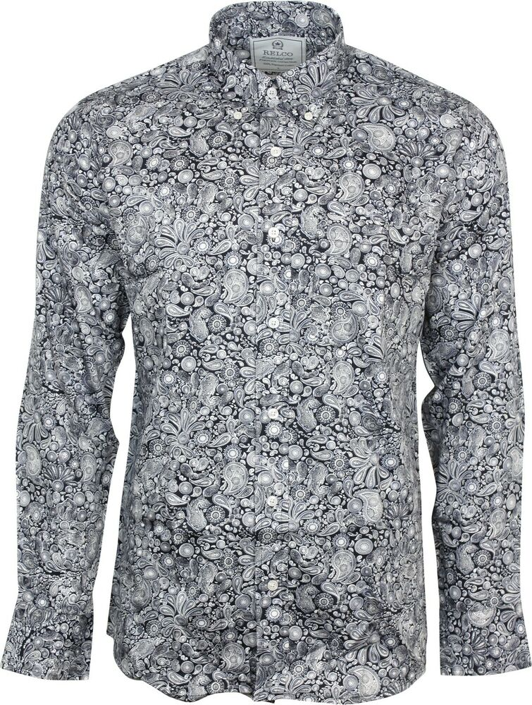 Relco mens platinum black paisley long sleeved button down for Mens black button down shirt