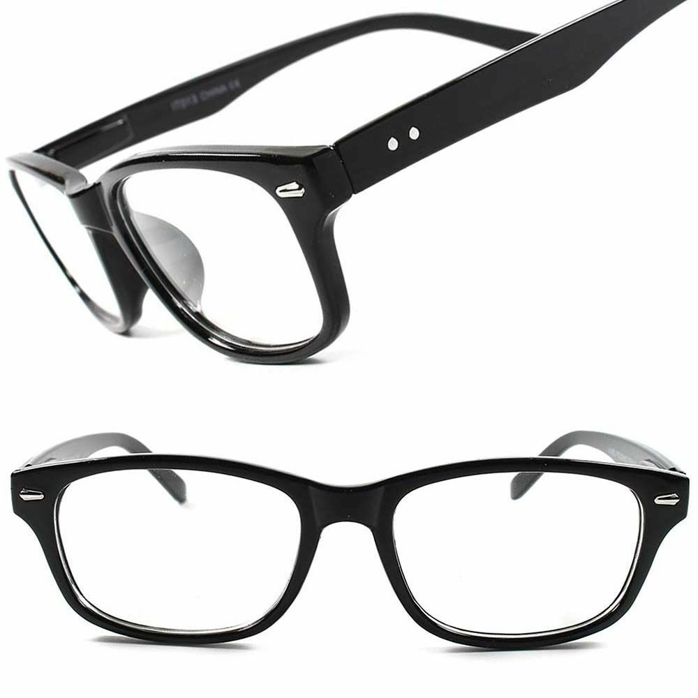 3da48b8ff9b Details about Black Classic Vintage Retro Fashion Nerd Geek Rectangle Clear  Lens Eye Glasses