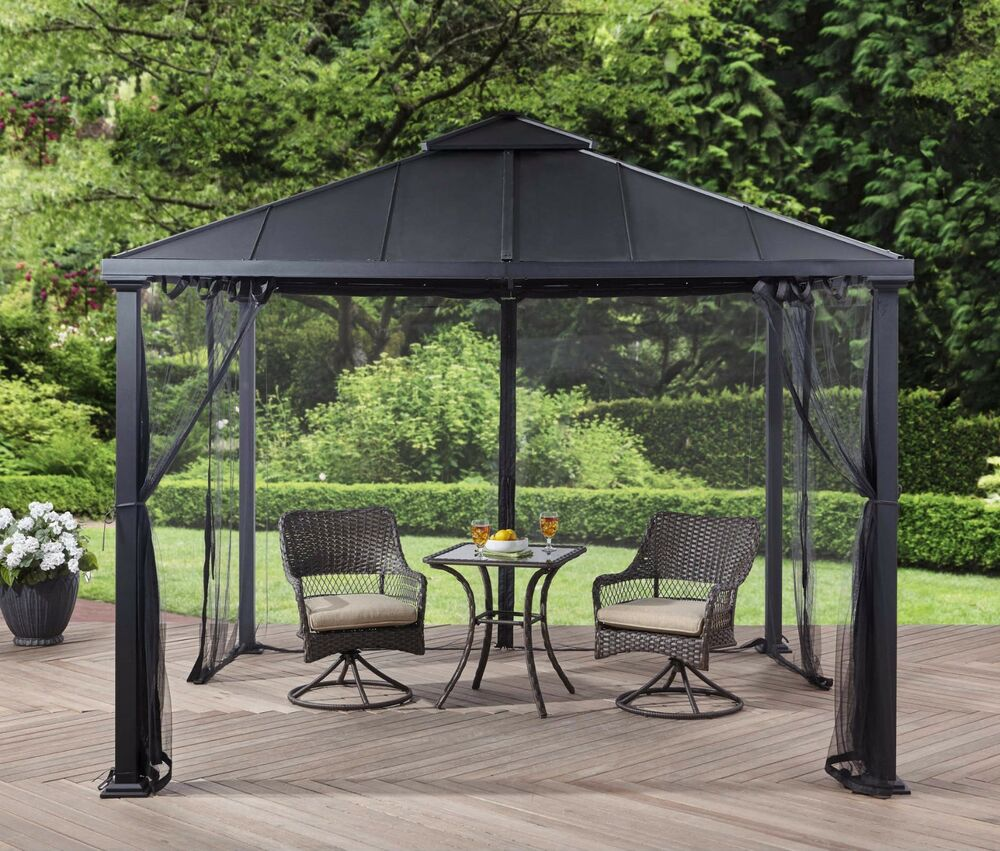 Metal Roof Gazebo with Netting Hard Top Pergola Canopy 10 ...