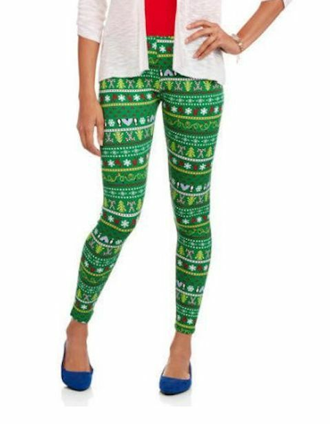 66778d948f4bf Details about No Boundaries Junior Christmas Holiday Ankle Leggings GREEN  Stripes XS S M L XL