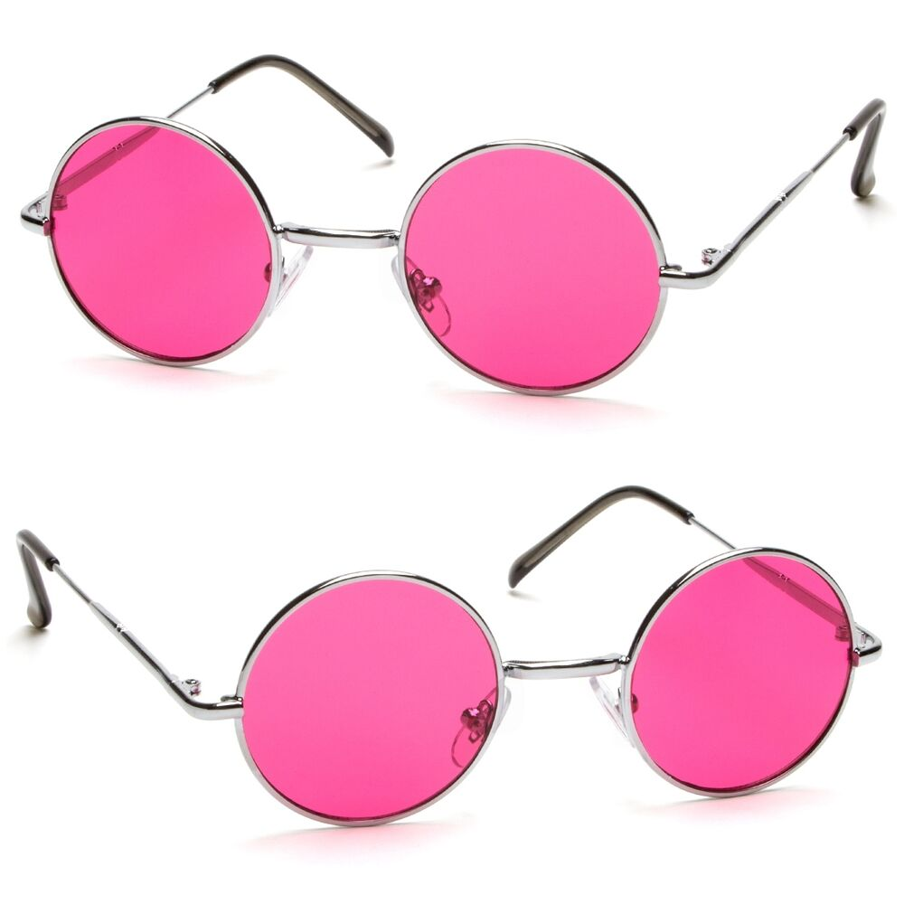 john lennon style vintage classic circle round sunglasses men women color pink b ebay. Black Bedroom Furniture Sets. Home Design Ideas