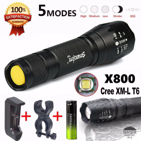 img-New G700 X800 Cree T6 LED Zoomable Military Flashlight Torch W/ Battery Charger