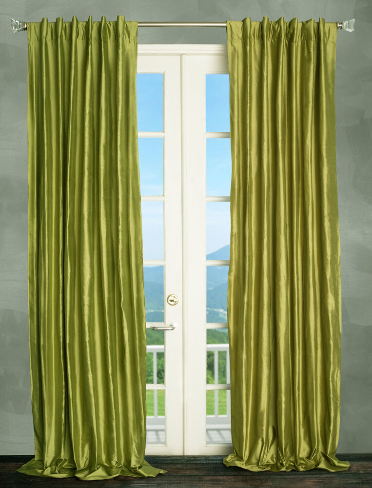 100 Dupioni Silk Drapes Lime Green 50x96 Window