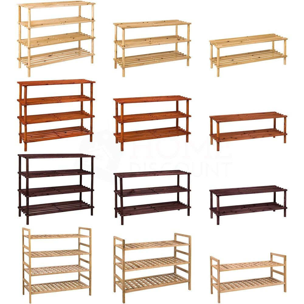 2 3 4 tier shoe rack slated dark oak natural walnut wood for Un stand