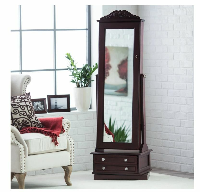 Jewelry Armoire Full Length Mirror Mirrored Tilting Box ...