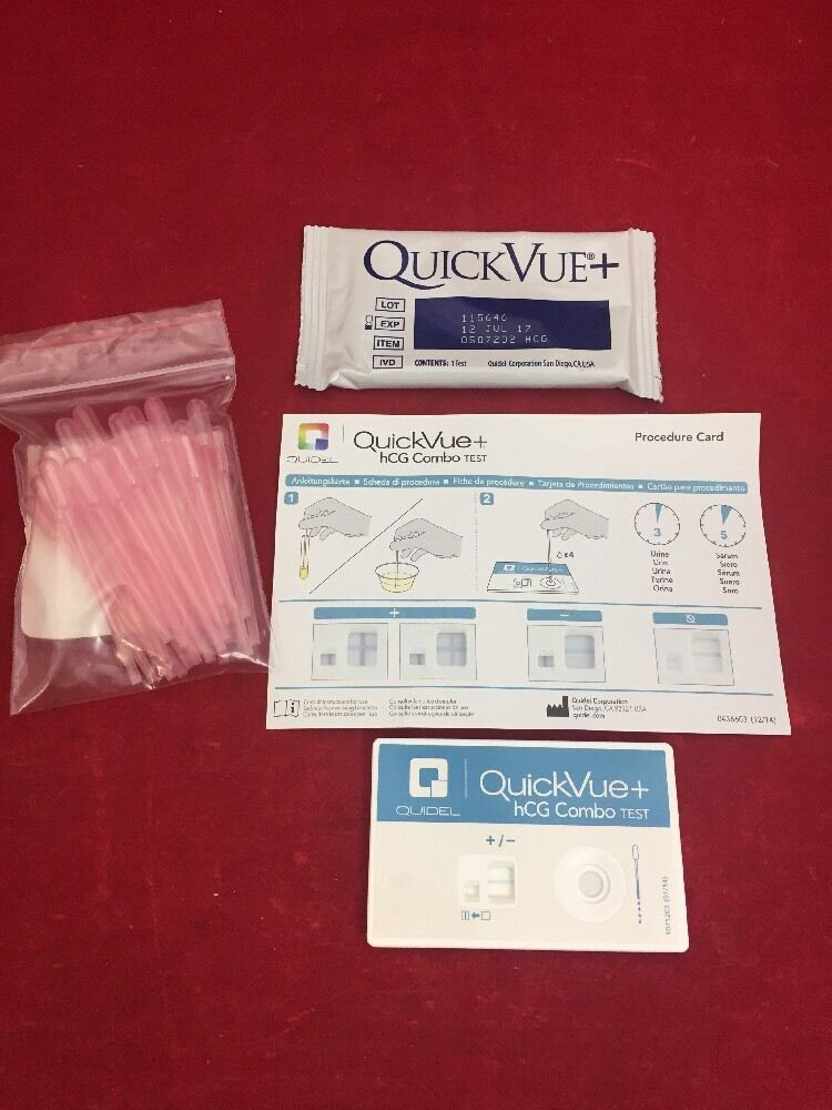 new box of 90 quidel quickvue one step hcg combo test. Black Bedroom Furniture Sets. Home Design Ideas