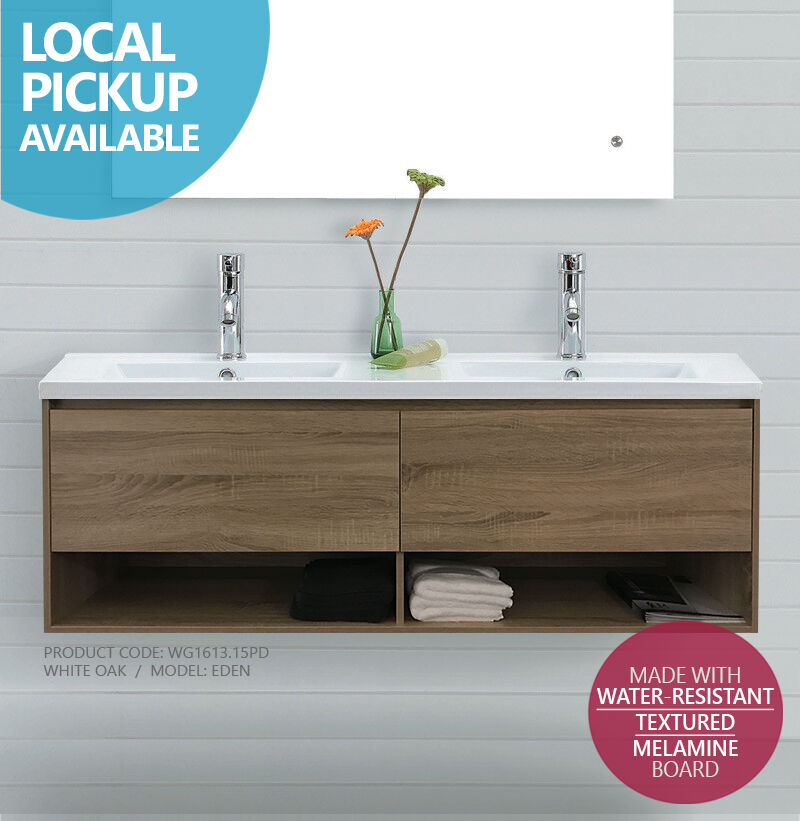 Eden 1500mm White Oak Timber Wood Grain Wall Hung Double Vanity W Towel Shelf Ebay