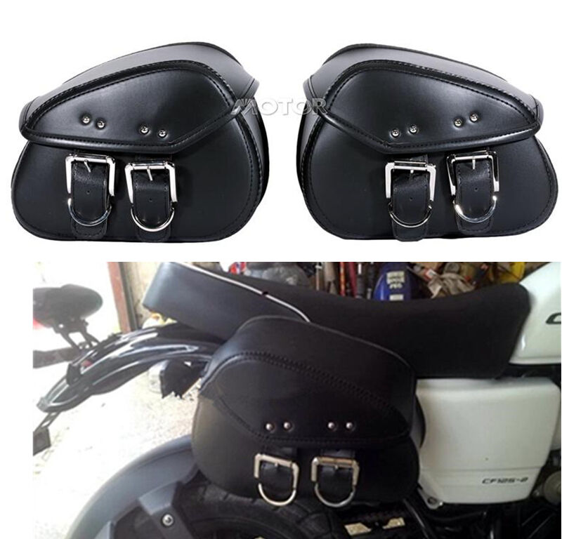 Motorcycle pu leather saddle bag fit yamaha v star xvs 250 for Yamaha virago 1100 saddlebags