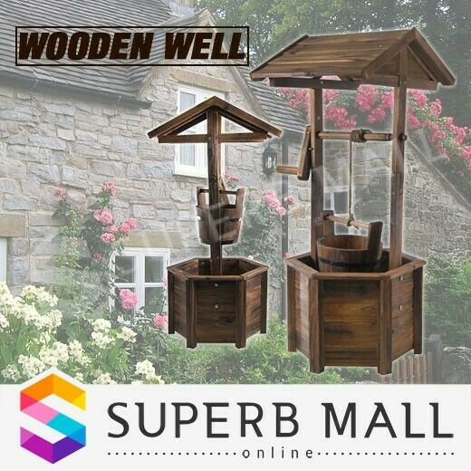 Wooden wishing well garden decor feature d cor timber for Wooden garden ornaments and accessories