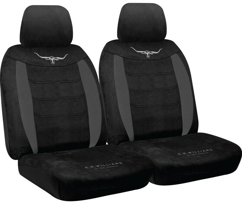 rm williams longhorn black suede velour car seat covers size 30 rmw pair ebay. Black Bedroom Furniture Sets. Home Design Ideas