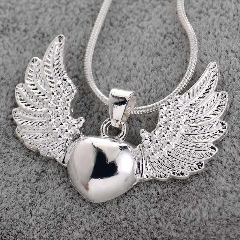 Vintage 925 Silver Heart Angel Wing Charm Pendant Necklace
