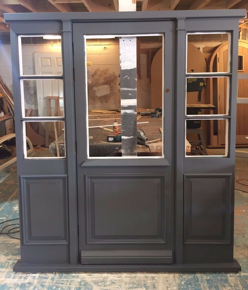 Solid hardwood front door with sidelights and raised and for Hardwood entrance doors