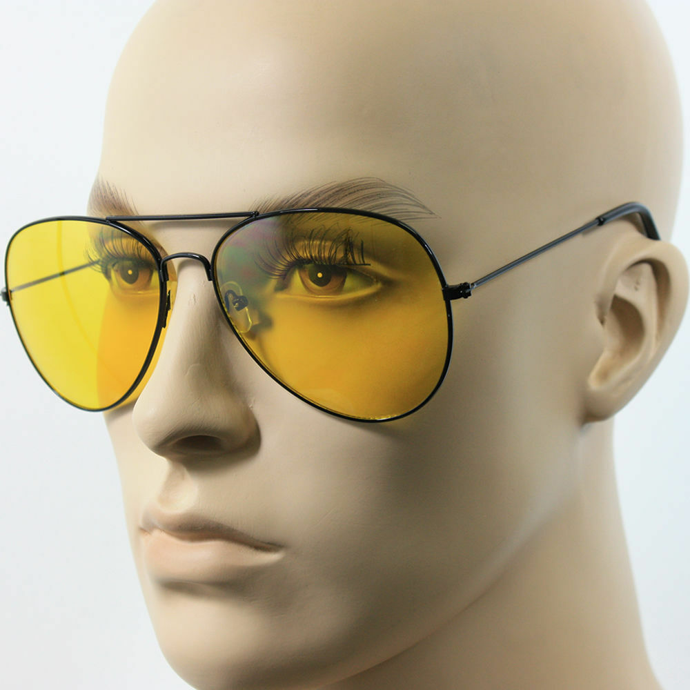 6435b7afe753 Details about SPORT PILOT HD NIGHT DRIVING VISION SUNGLASSES YELLOW HIGH  DEFINITION GLASSES