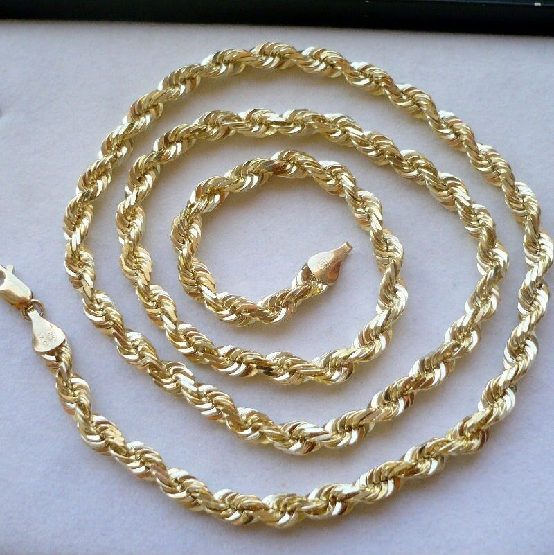 K Gold Diamond Cut Rope Chain
