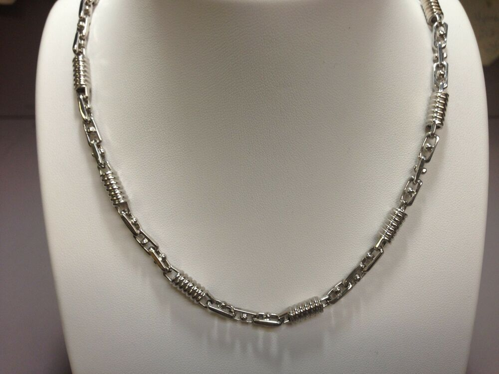 mens handmade necklaces 14kt white gold mens handmade chain necklace 24 quot 5mm 50 4244