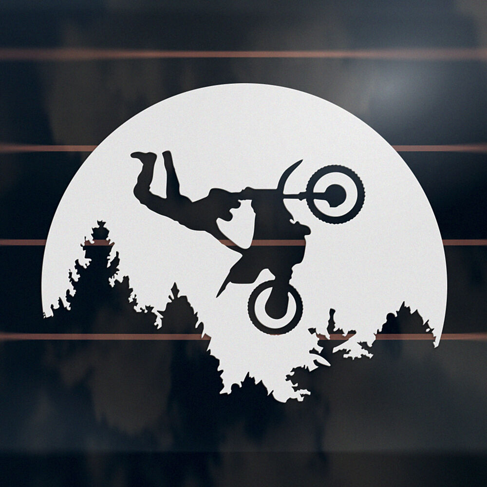 Dirt Bike Motocross Moon Sticker 140mm Offroad E T