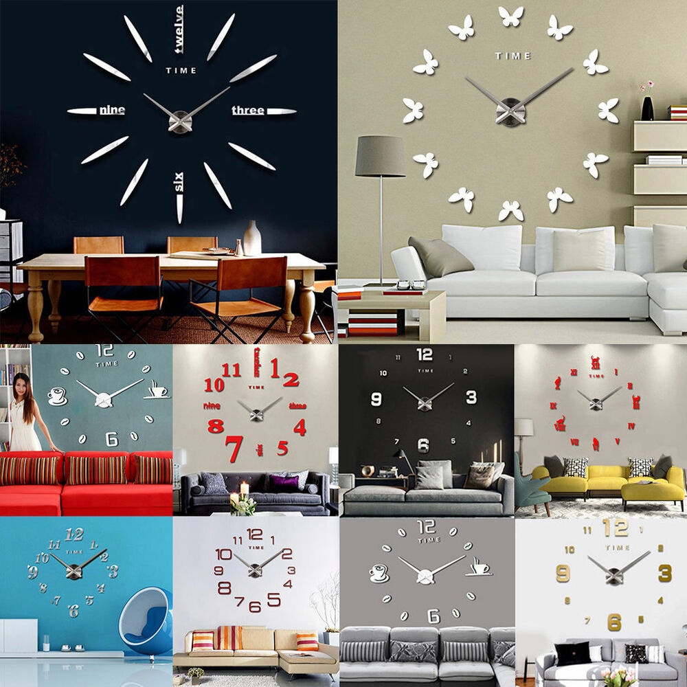 Diy 3d decoration design large modern wall clock home for Large 3d wall art