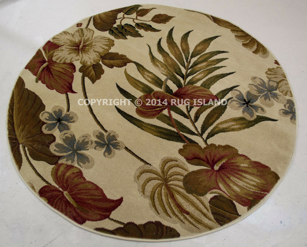 5 Round 5 3 Quot Tropical Coastal Beach Floral Palm Red