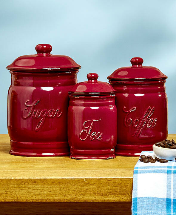 Set 3 brick red ceramic kitchen sugar coffee tea classic for Kitchen set red