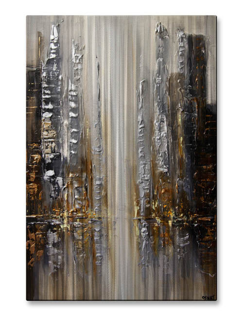 Metal art silver city by osnat abstract modern citiscape for Silver wall art
