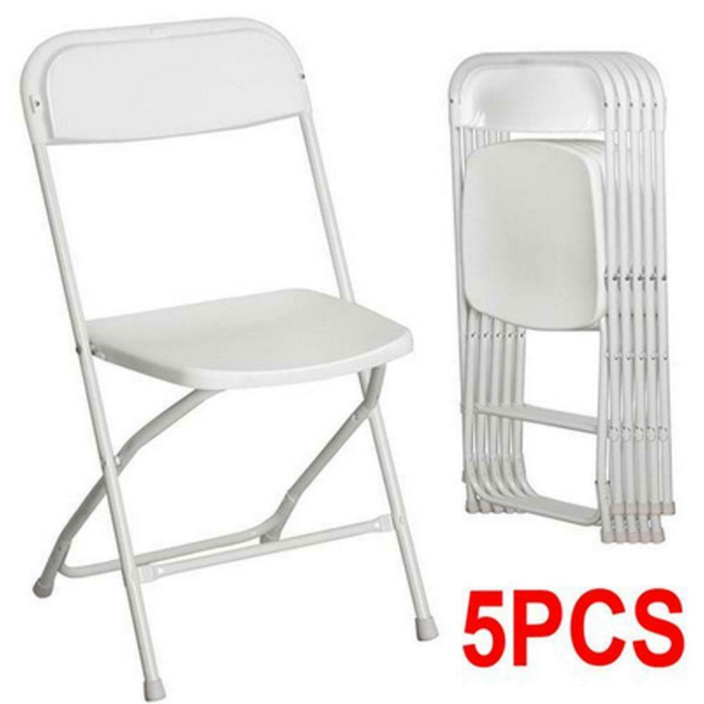new hot set of 5 commercial white plastic folding chairs. Black Bedroom Furniture Sets. Home Design Ideas