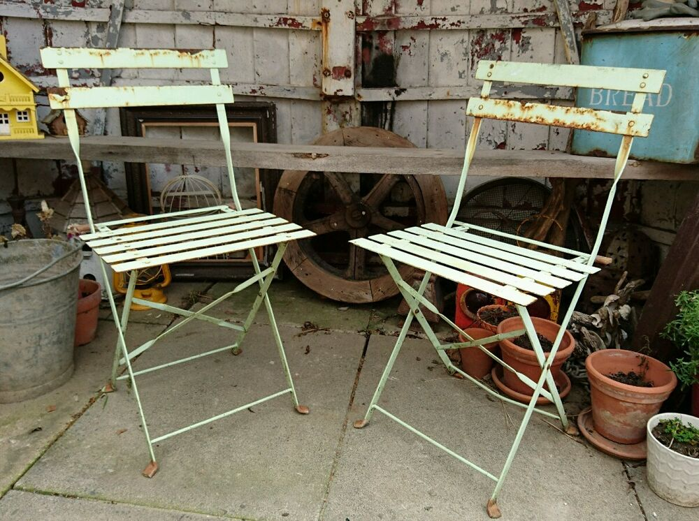 PAIR OF Antique Vintage French Bistro Cafe Chairs Folding