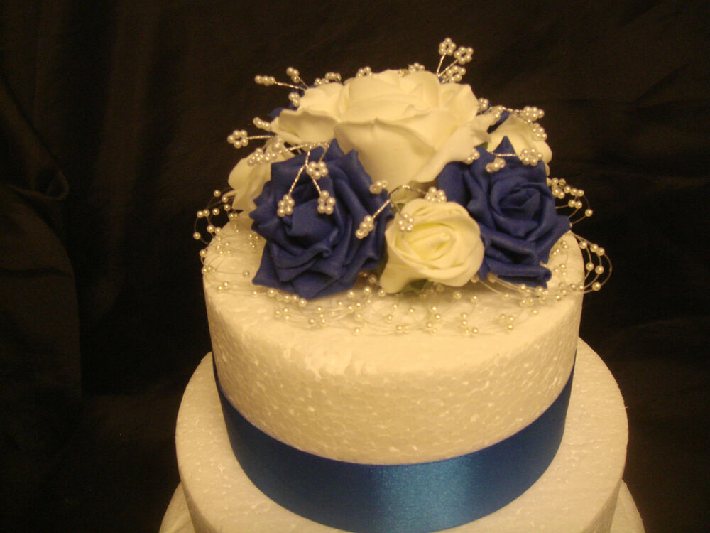 british wedding cake toppers royal blue ivory white pearl ribbon anniversary 12172