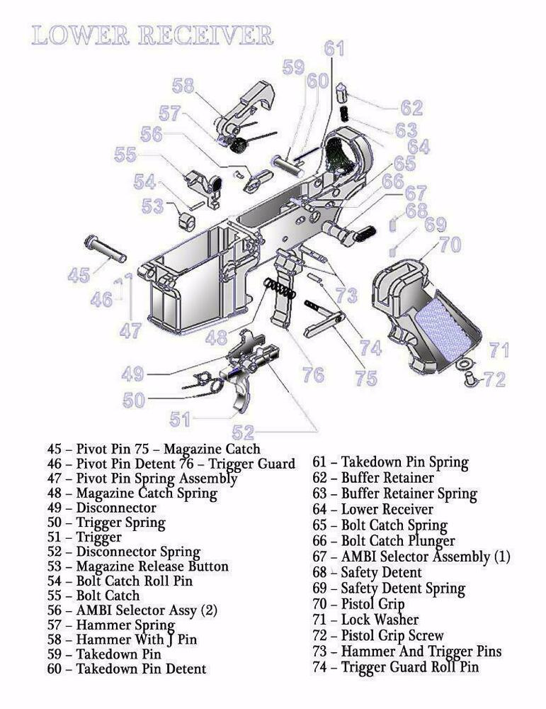 AR15 LOWER    RECEIVER       DIAGRAM    GLOSSY POSTER PICTURE BANNER