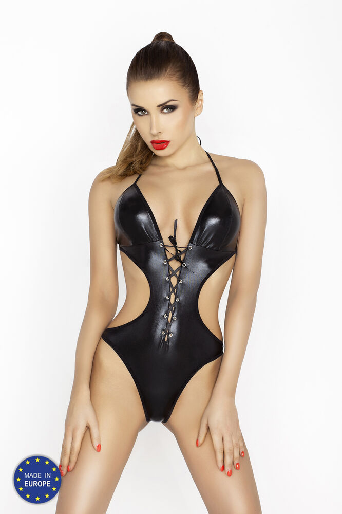 Sexy Black Leather Look Teddy Body 10 12 14 16 18 20 like PU PVC Inc Plus Size  eBay