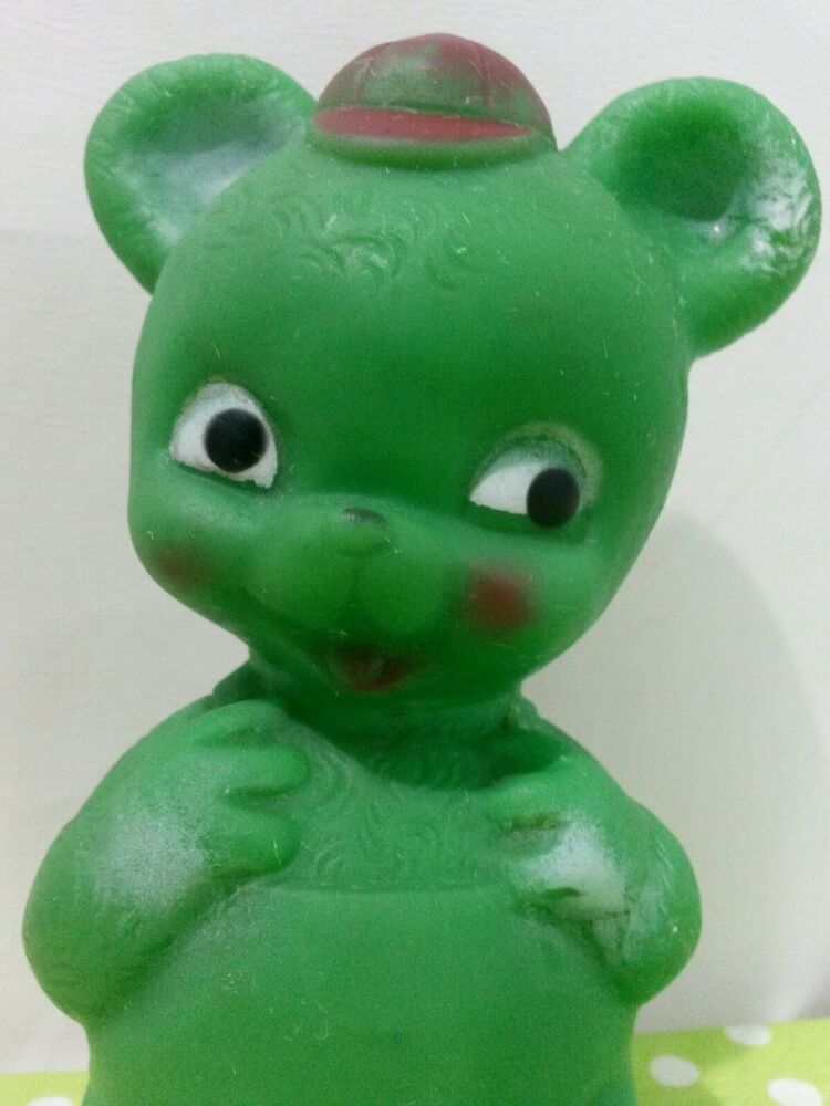 Vintage Green Teddy Bear Rubber Squeak Squeaky Baby Toy