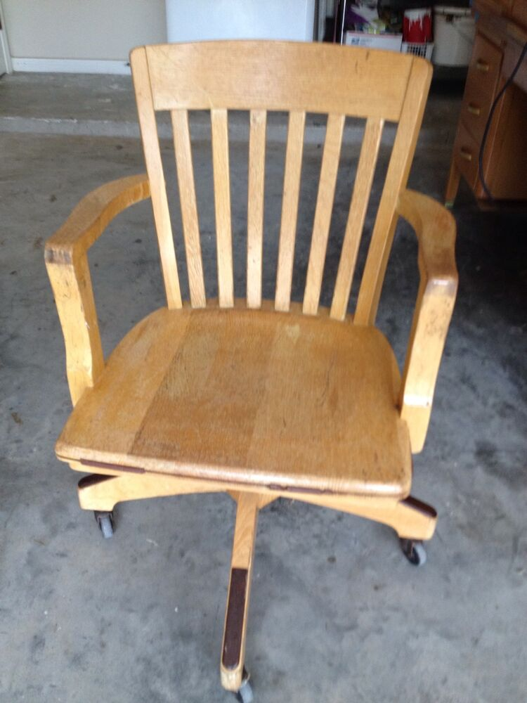 Antique Solid Quartersawn Oak Wood Swivel Chair Banker Office Desk EBay