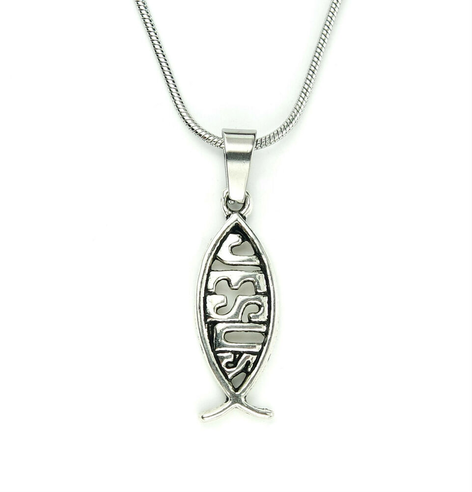 Jesus fish necklace snake chain choose length christian for Christian fish necklace