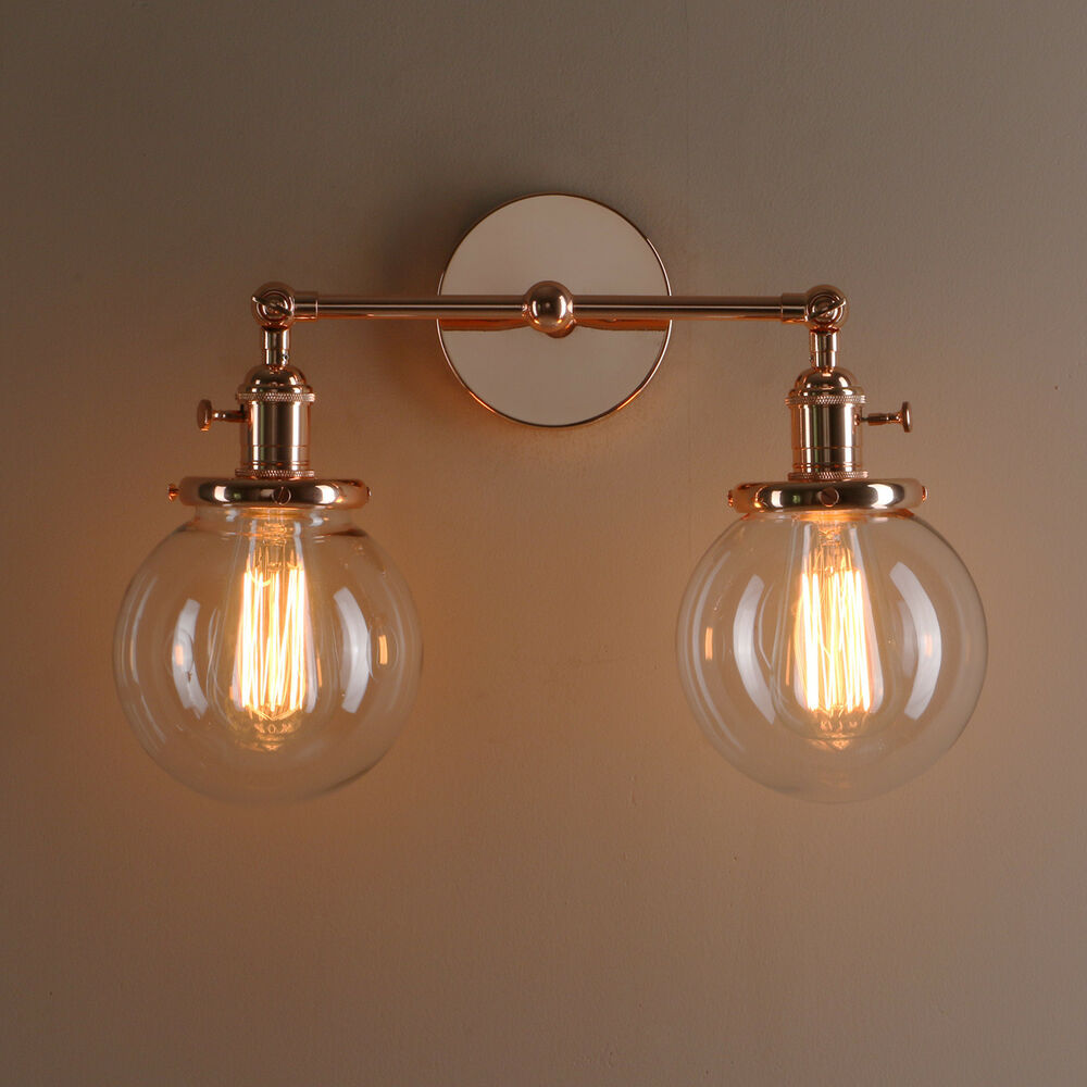 Antique Wall Sconce Glass Shades : Vintage Sconce Industrial Double Glass Clear Glass Shade Wall Lamp Light eBay