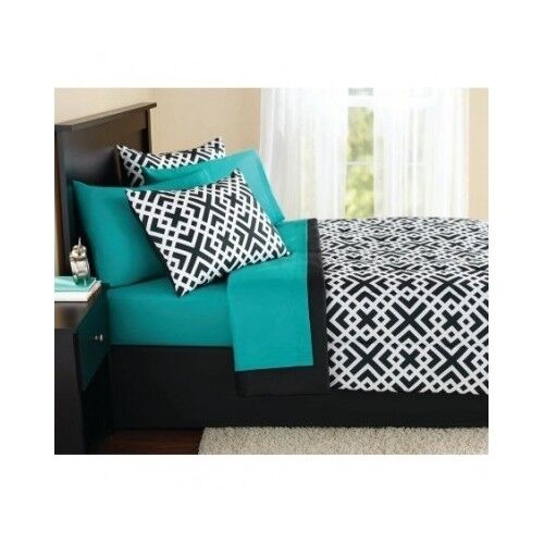 New King Size forter Set Teal Sheets Pillow Shams