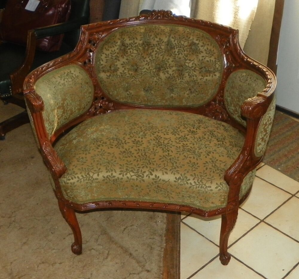 Carved Walnut French Armchair Parlor Chair Ac51 Ebay