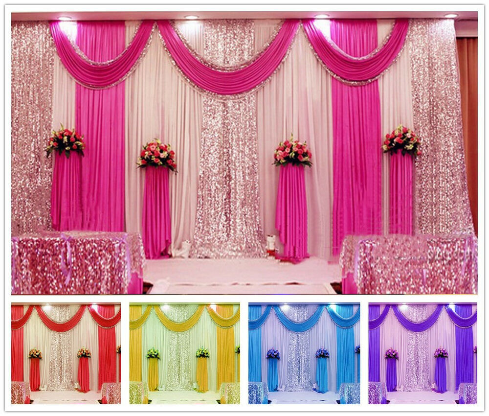 Pleated Wedding Party Backdrop Curtain Background Decor