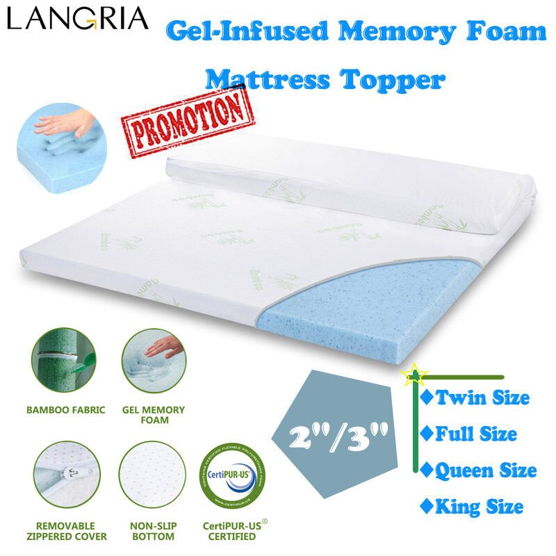 2 3 twin full queen king size memory foam gel infused mattress toppe ebay. Black Bedroom Furniture Sets. Home Design Ideas
