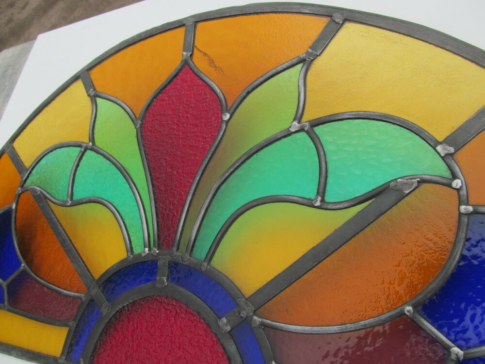 Original 1920s Arched Stained Glass Window Panel Overdoor