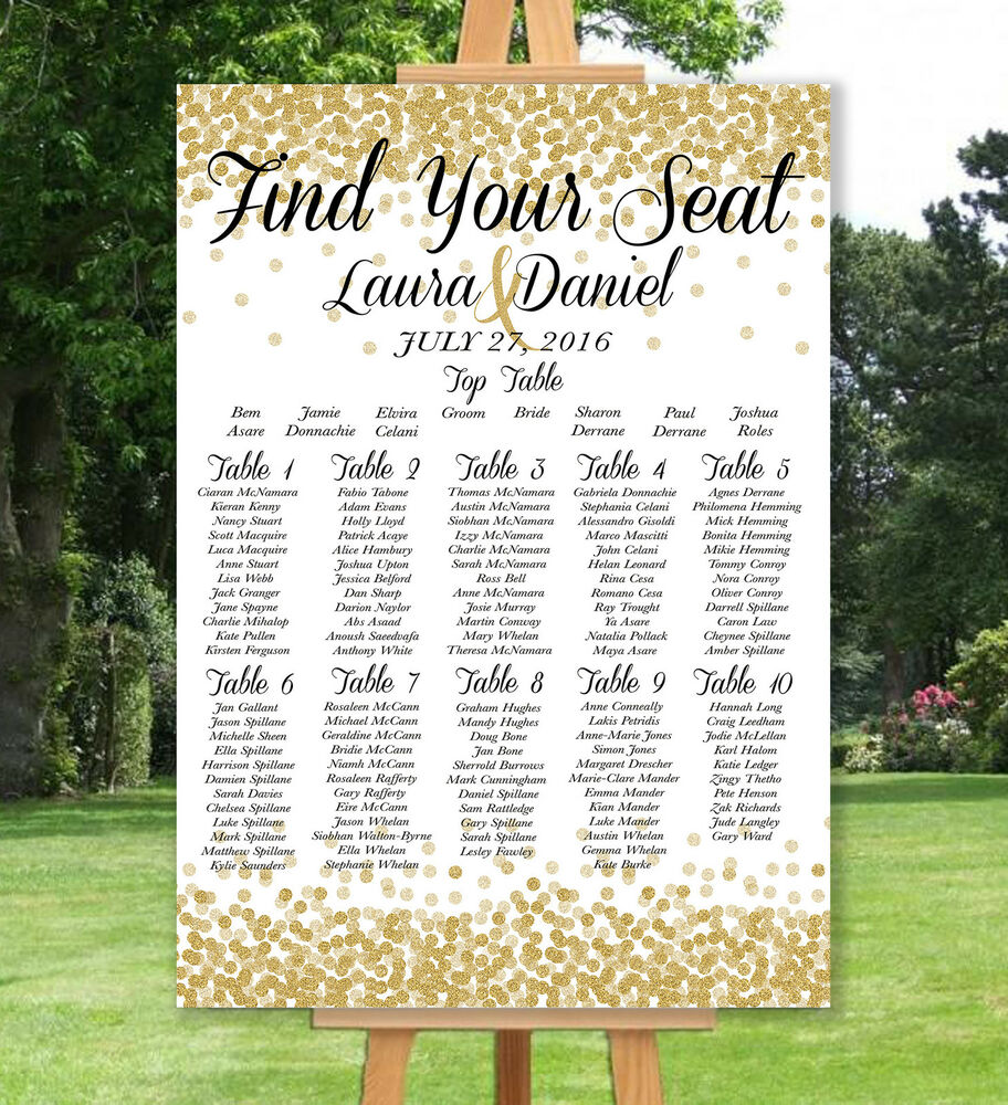 PERSONALISED WEDDING TABLE SEATING PLAN- UN-BACKED-GOLD
