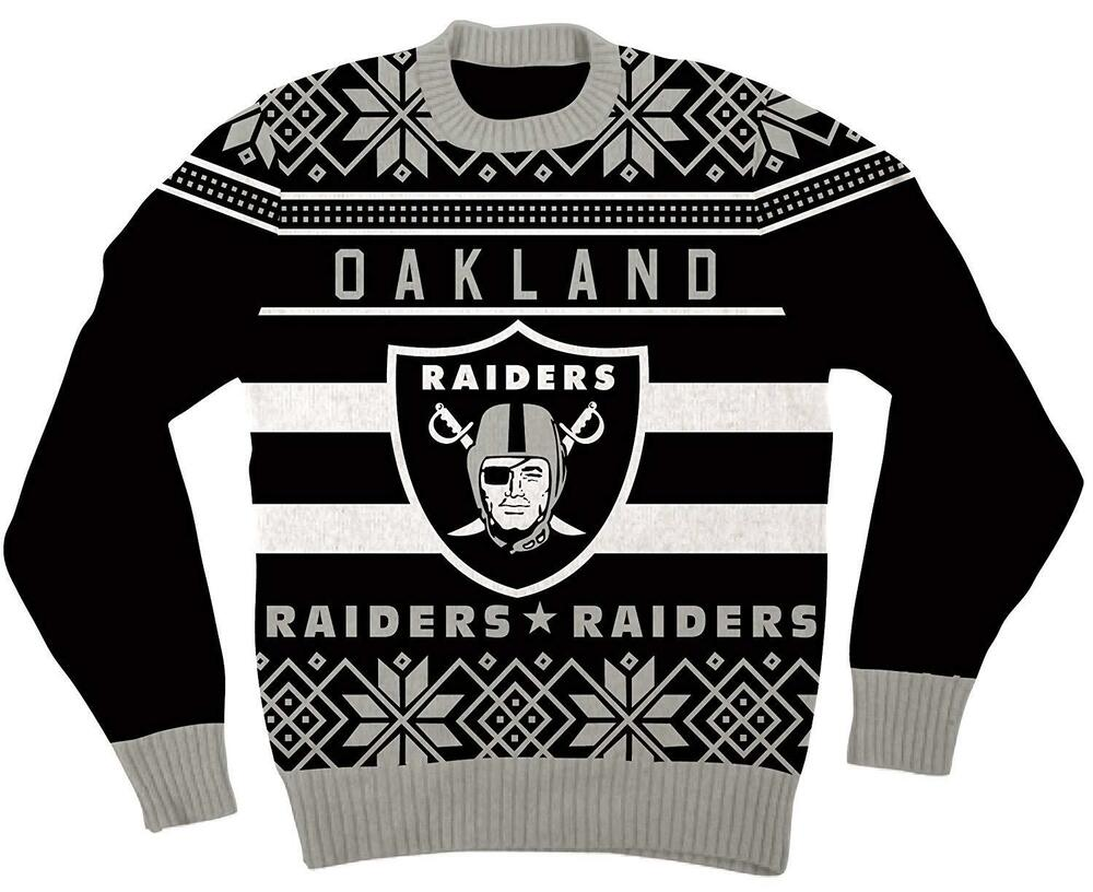 NFL Oakland Raiders Logo Adult Black Football Ugly Christmas Sweater ...