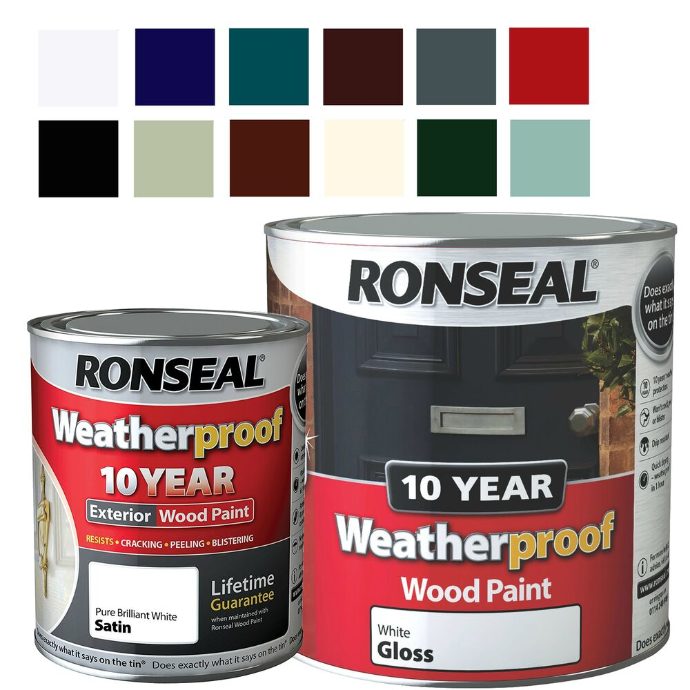 Ronseal Weatherproof 10 Year Exterior Wood Paint Gloss Satin All Colours 750ml Ebay