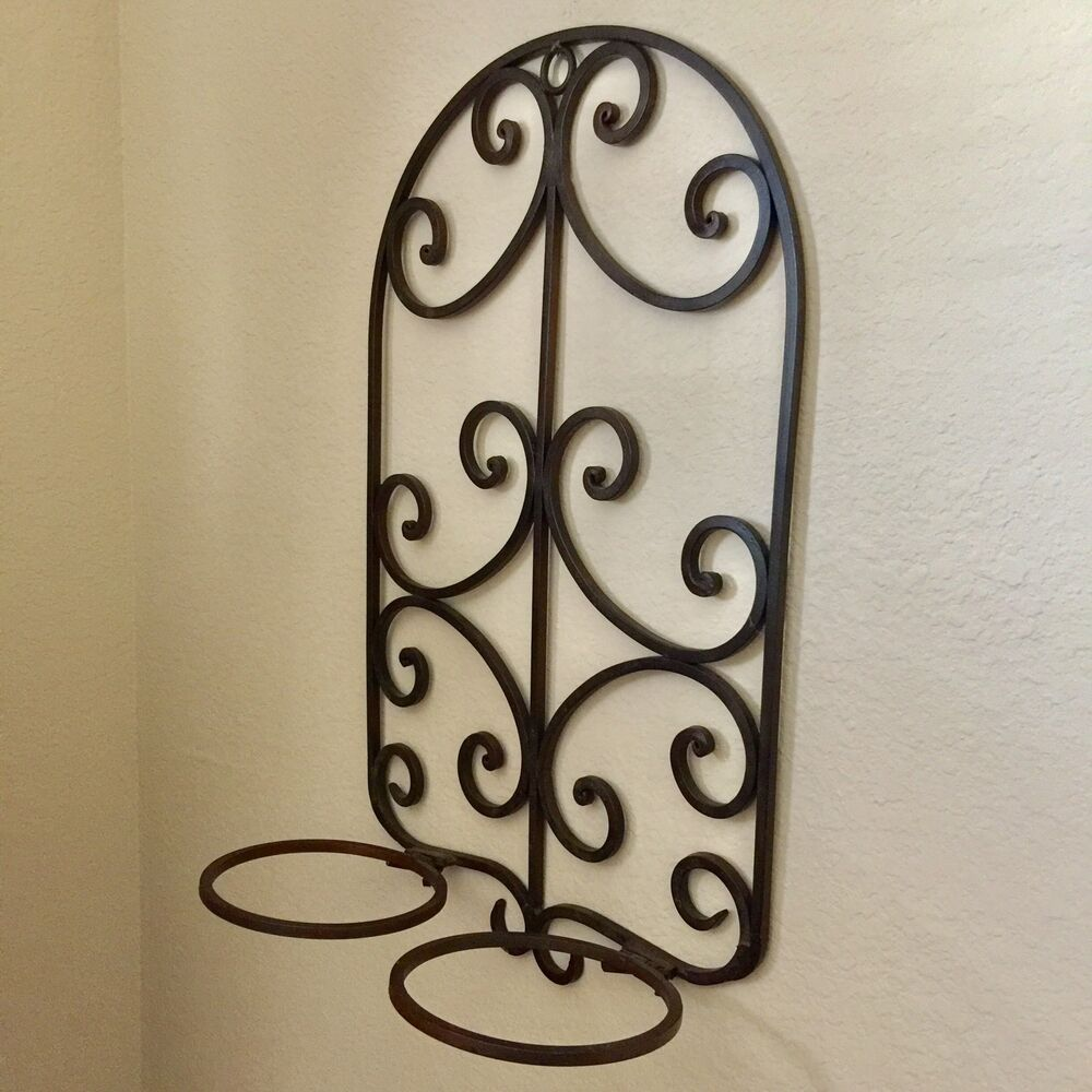 Wrought Iron Wall Sconces Flowers : Wrought Iron Herb Flower 2 Pot Wall Holder Planter Home Garden Tuscan Decor 20